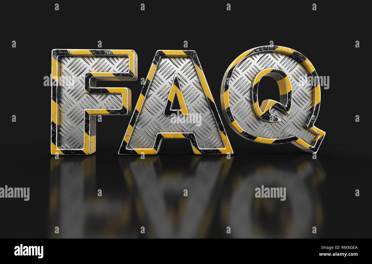Metal FAQ text. Image with clipping path. - Stock Image