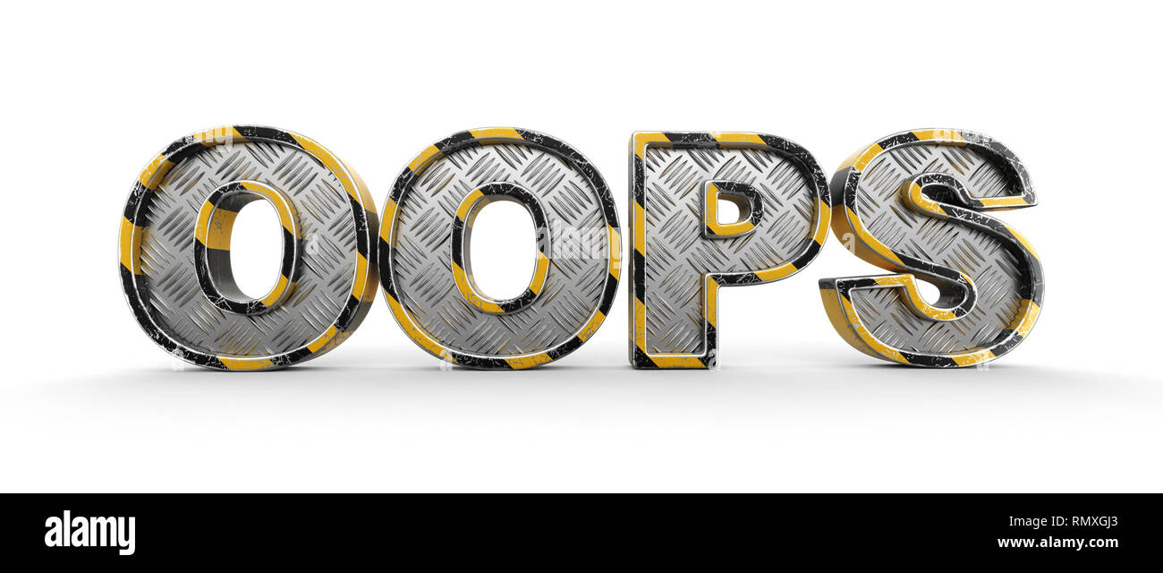Metal oops text. Image with clipping path. - Stock Image