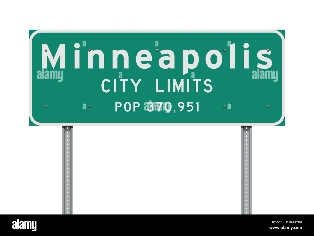 Vector illustration of the Minneapolis City Limits green road sign - Stock Image