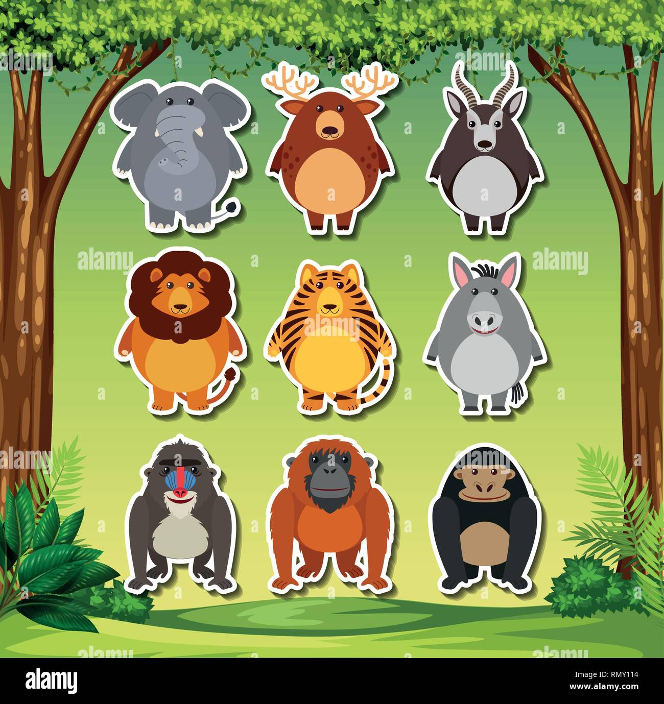 Set of cartoon animal sticker illustration - Stock Image