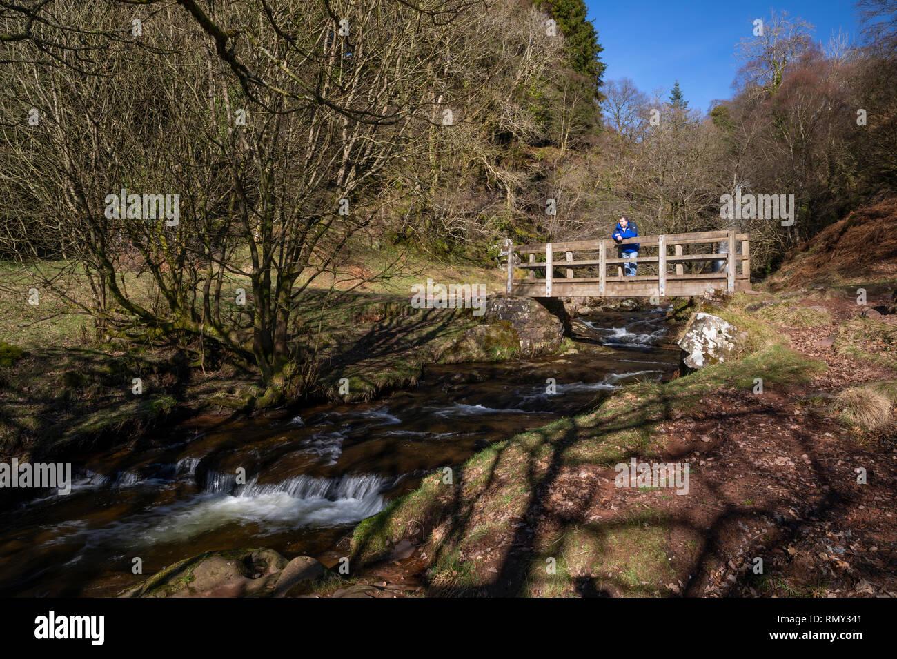 Blaen-y-Glyn waterfalls in The Brecon Beacons, Wales - Stock Image