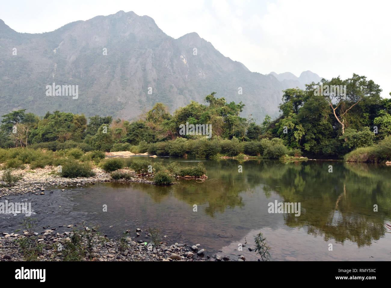 Countryside next to Van Vieng Laos - Stock Image