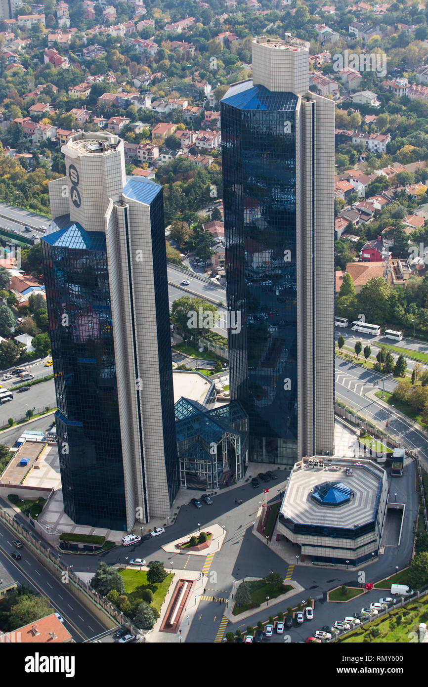 Levent, Istanbul/Turkey: October 16th, 2018. Sabanci Towers in the financial district of Istanbul. Akbank is located in this building. - Stock Image