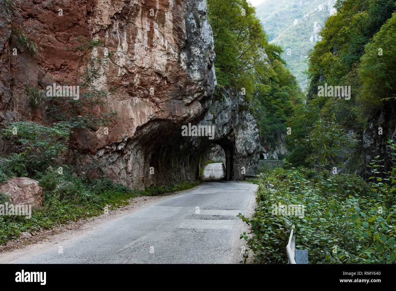 Jerma River canyon with surrounding cliffs over 200m high, extremely dangerous road, along the edge of the gorge, many sharp curves. - Stock Image