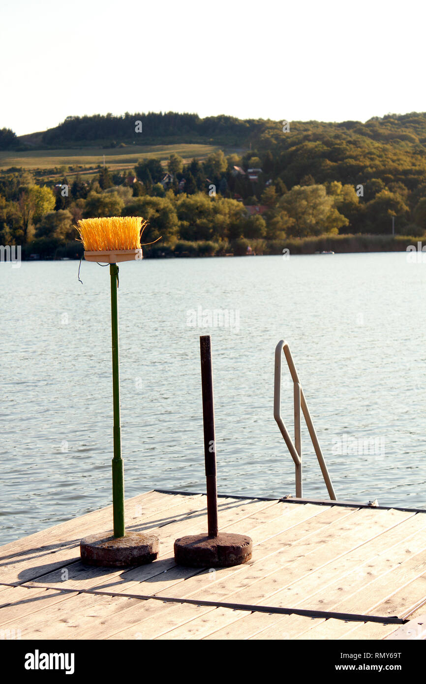 A brush by the lake is waiting its turn to swim while the other has already gone. Concept for holiday, cease housework, irrationality. - Stock Image