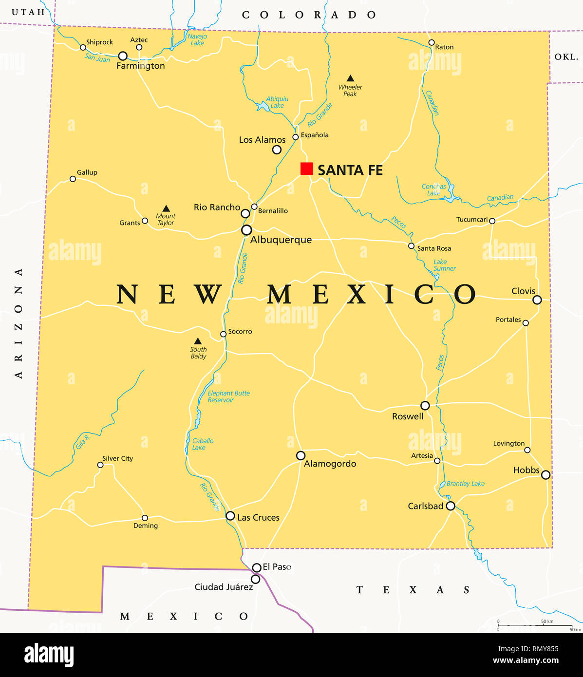 Map Of Texas Cities And Rivers.New Mexico Political Map With Capital Santa Fe Borders Important
