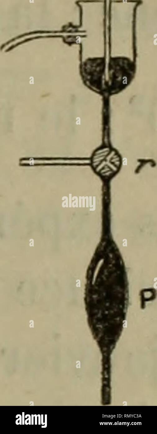 . Annales des sciences naturelles. Zoology; Biology. RECHERCHES SUR LA LEVURE DE GRAINS. 289. Fig. 3. — Disposition em- ployée pour introduire dans un récipient vide, l'air, l'eau et la levure. taie fixant le levier d'iui métronome écarté de la })orlion verticale ; dès que le niveau de Teau atteint le liège, le fiotteur est soulevé, le métronome se met à battre. Nos expériences de respiration durent une demi-heure ou une heure ; on retire le fiacon^ et si la température a été élevée, on l'immerge dans l'eau froide pendant quelques mi- nutes, on le porte, après avoir retiré le bouchon sous le m - Stock Image