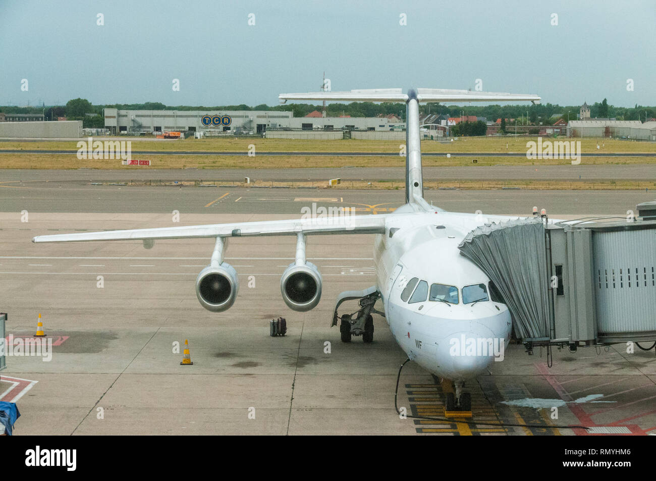 Bea-146 Avroliner RJ parked at Brussels Airport - Stock Image