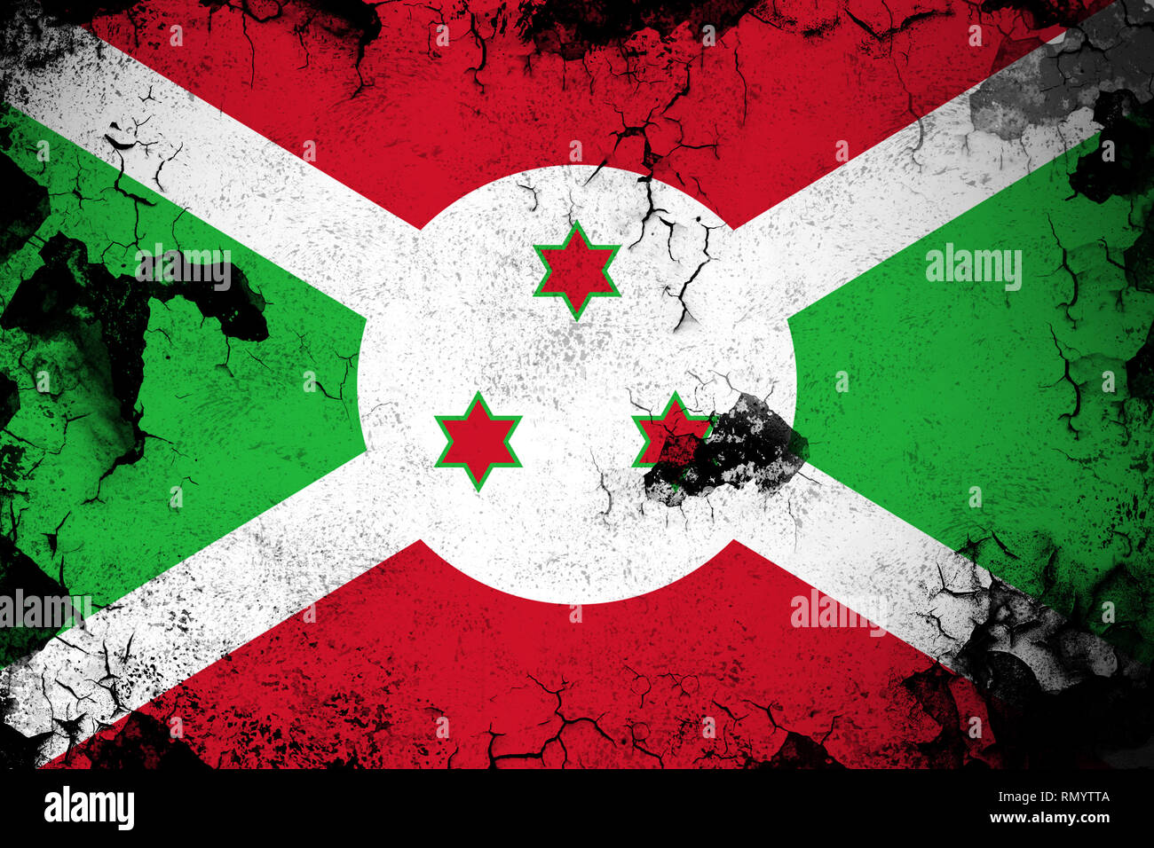 Burundi grunge and dirty flag illustration. Perfect for background or texture purposes. Stock Photo