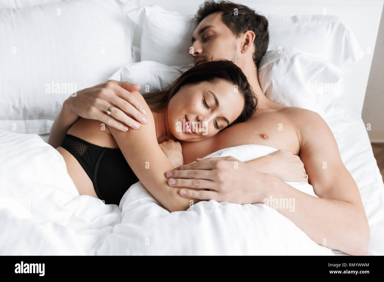 Photo Of Caucasian Couple Man And Woman Hugging Together While