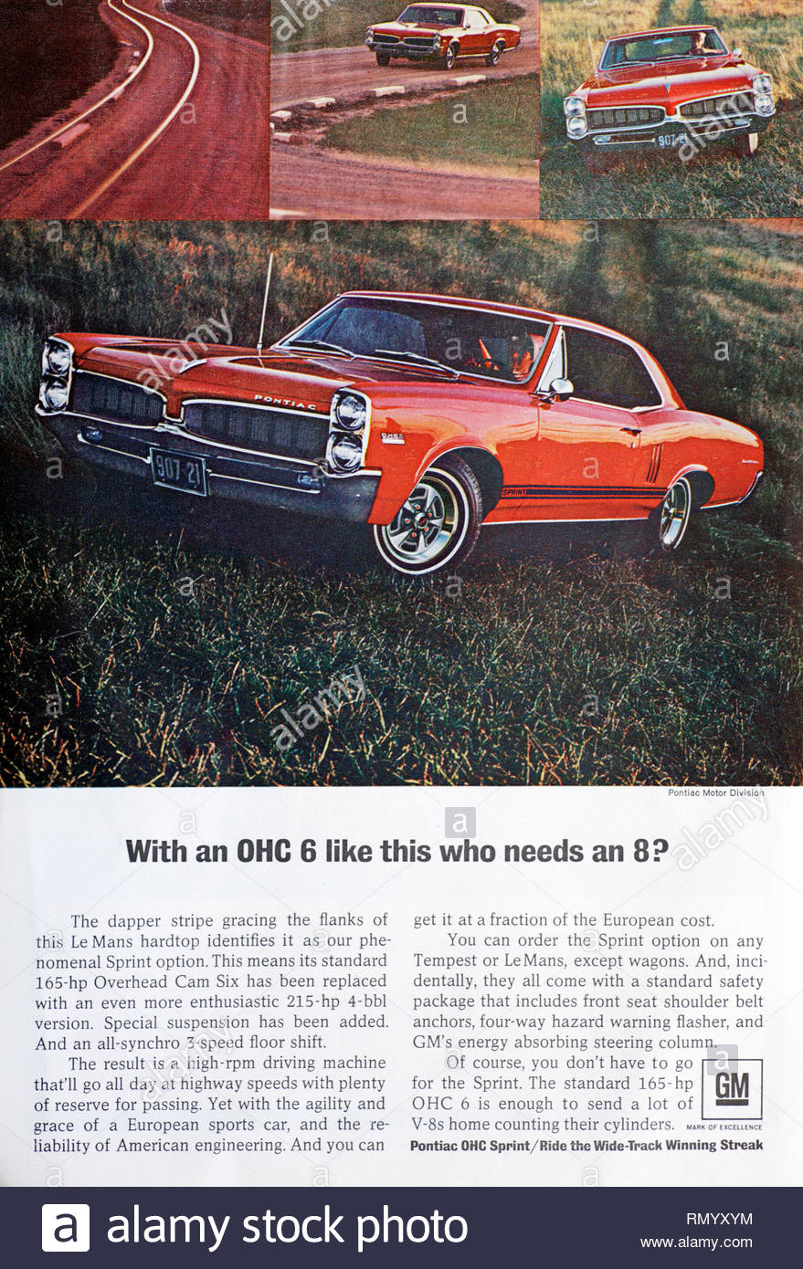 Vintage advertising for the Pontiac Le Mans OHC Sprint Car 1966 - Stock Image