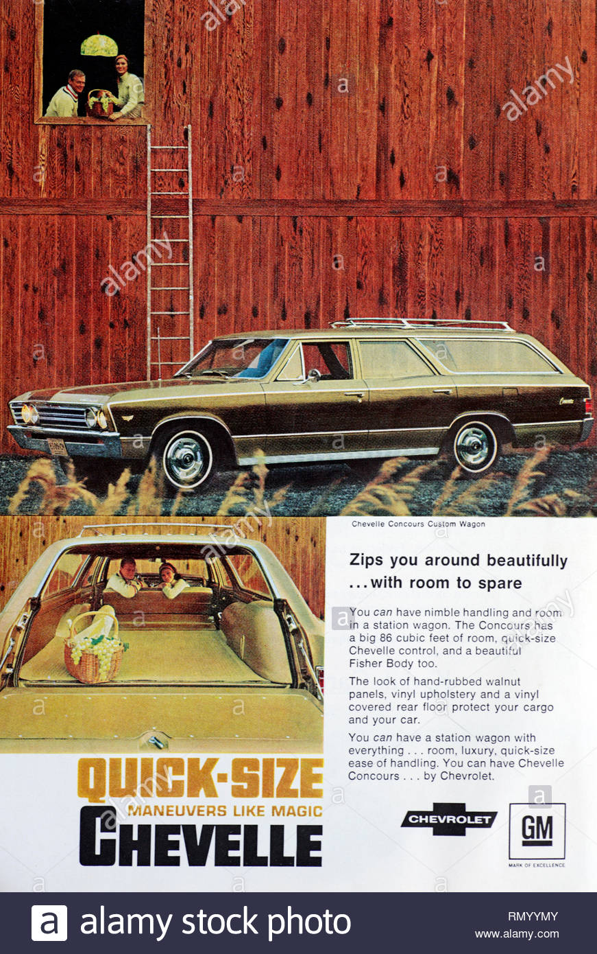 Vintage advertising for the Chevrolet Chevelle Concours Custom Wagon Car 1966 - Stock Image