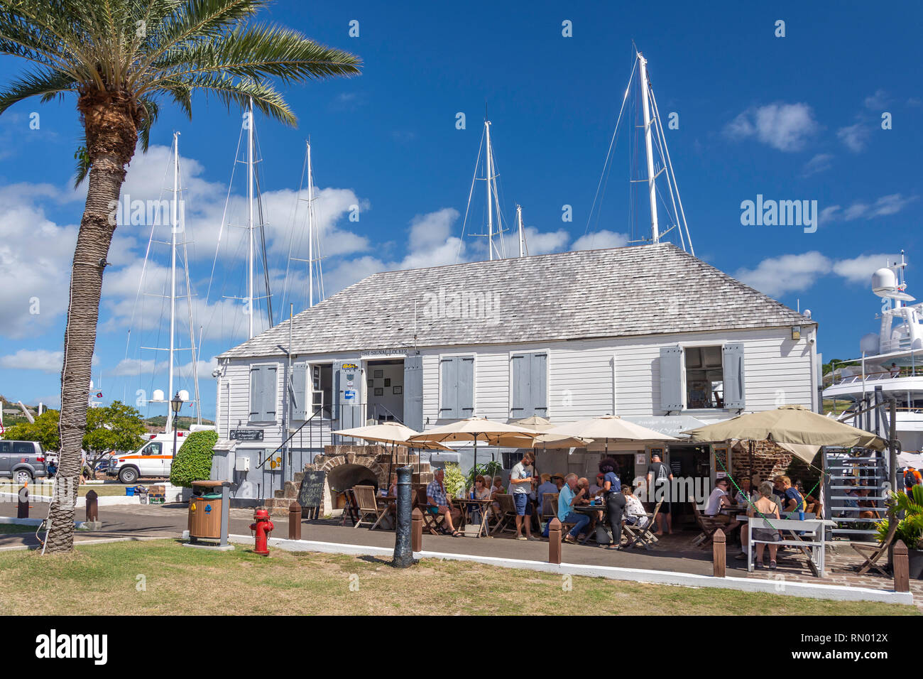 The Hot Spot Cafe, Nelson's Dockyard, Nelson's Dockyard National Park, St Paul Parish, Antigua, Antigua and Barbuda, Lesser Antilles, Caribbean - Stock Image