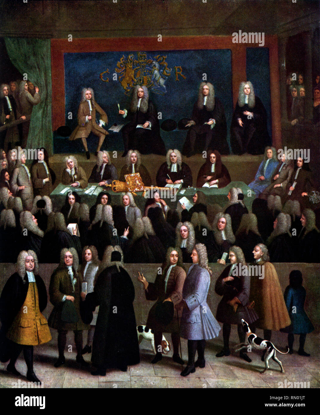 The Court of Chancery during the reign of George I, c1725. By Benjamin Ferrers (died 1732). The Court of Chancery was a court of equity in England and Wales that followed a set of loose rules to avoid the slow pace of change and possible harshness of the common law. By Benjamin Ferrers. - Stock Image