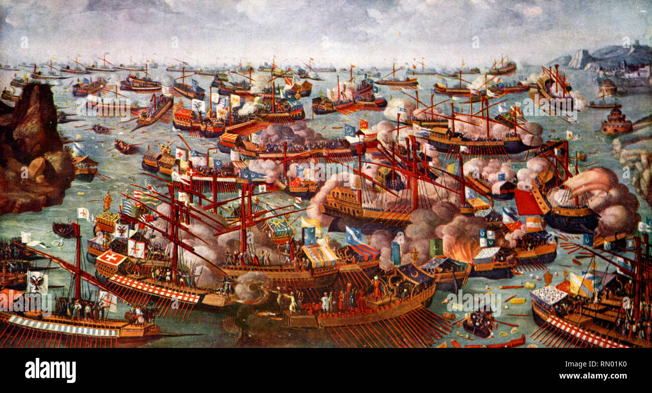 The Battle of Lepanto, 1571. The Battle of Lepanto was a naval engagement that took place 7th October 1571, between the Holy League, led by the Venetian Republic who along with the Spanish Empire, inflicted a major defeat on the fleet of the Ottoman Empire in the Gulf of Patras. Stock Photo