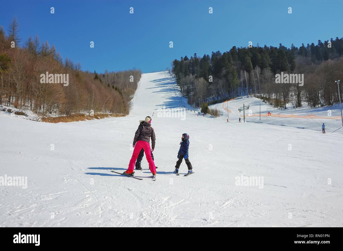 Downhill skiing in Ski Resort Levoska Dolina, Slovakia - Stock Image
