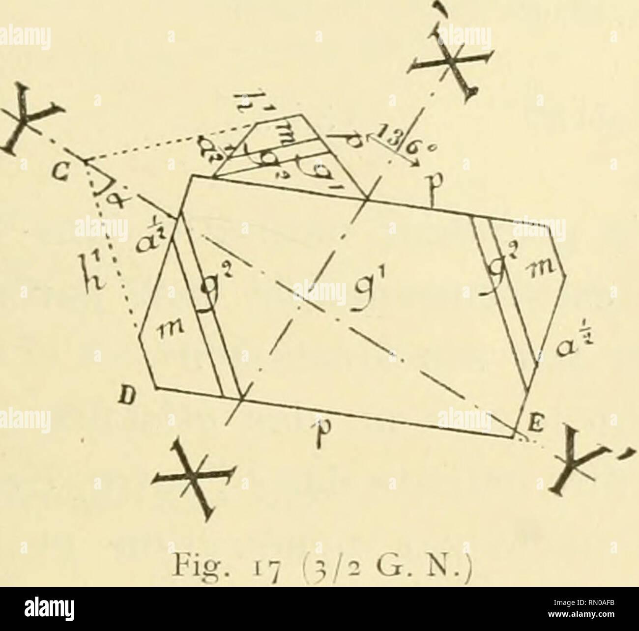 . Annales de la Station limnologique de Besse. Natural history; Natural history. — 287 - 5° Macle A, C'est tout d'abord, une macle où les faces g1 et gr sont parallèles v. fig. 16), et qui pro- jetée dans un plan pa- rallèle à^1 nous donne la figure 17. Il est facile de voir que la face d'assemblage est un des plans qui ont leurs traces en XX' et Y Y'. Si nous adoptions XX', qui est une face a* nous aurions des caracté- ristiques très compli- quées, aussi ai-je préféré adopter YY Voyons quelle est la notation de cette face ox. Le goniomètre d'application m*a donné p p' 136 environ, d'où il es - Stock Image