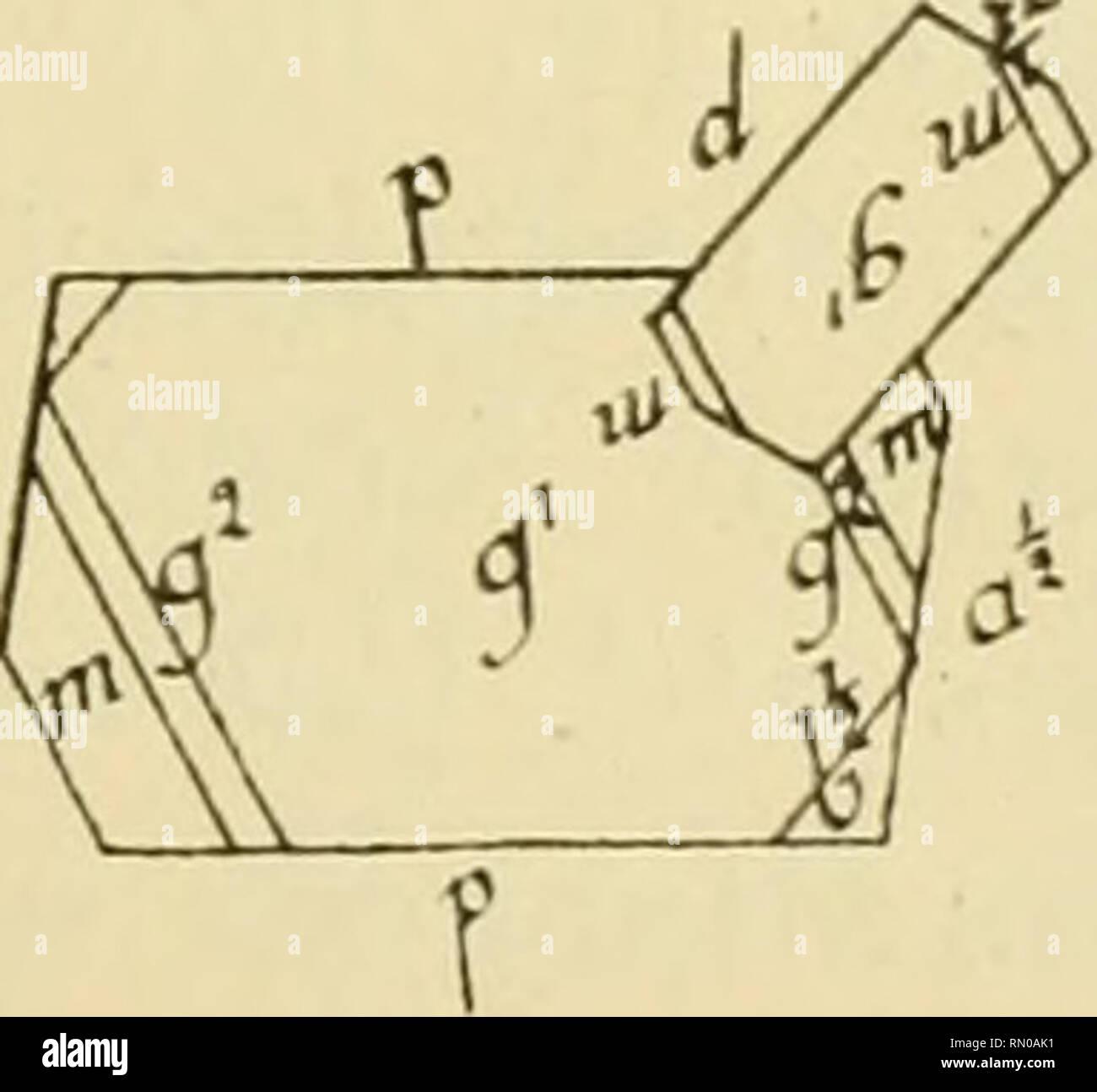""". Annales de la Station limnologique de Besse. Natural history; Natural history. G. N. Macle en V. -- (Fig. 7). Il existe dans la macle de Carlsbad une autre particularité. Deux cristaux allongés suivant p g1, et # ordinairement de grandeurs diffé- rentes, se groupent en forme de V, les faces gx et gr. ne coïncidant. d'ailleurs pas. Macle de Carlsbad multiple. - Il Fl£- """"1 arrive quelquefois que trois individus forment une macle de Carlsbad à plusieurs compo-. Please note that these images are extracted from scanned page images that may have been digitally enhanced for readability - color Stock Photo"""
