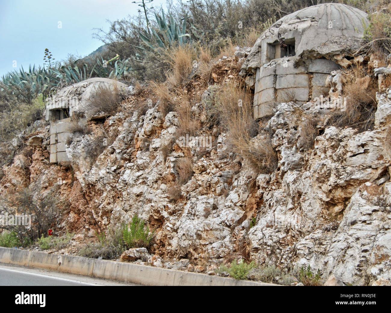 Abandoned old bunker near Porto Palermo. Albania, August 2015 - Stock Image