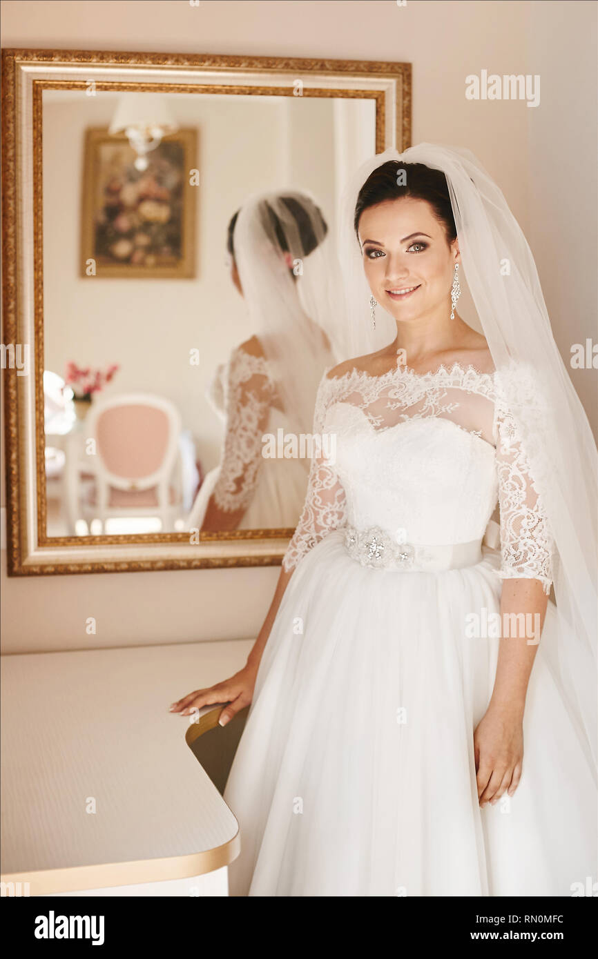 d8538060c00 Beautiful and fashionable brunette in the wedding dress and bridal veil  with big luxury earrings stands
