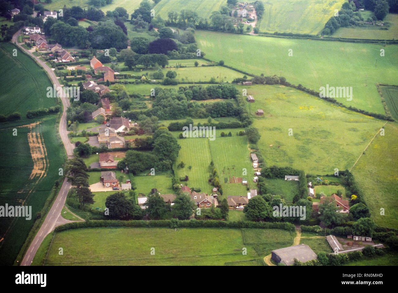 Aerial photograph of Wield Road, Medstead Village, Alton, Hampshire, England. United Kingdom. - Stock Image