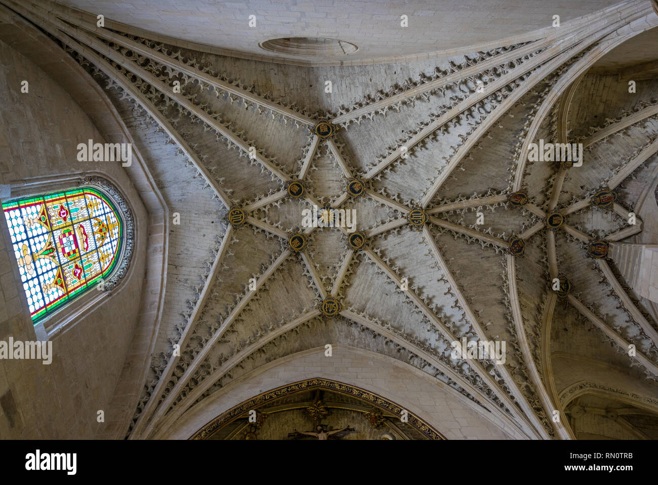 Burgos, Spain - March 24, 2017. Tierceron star vaulted ceiling at Saint Anne Chapel or Chapel of the Conception (Capilla de Santa Ana o de la concepci - Stock Image