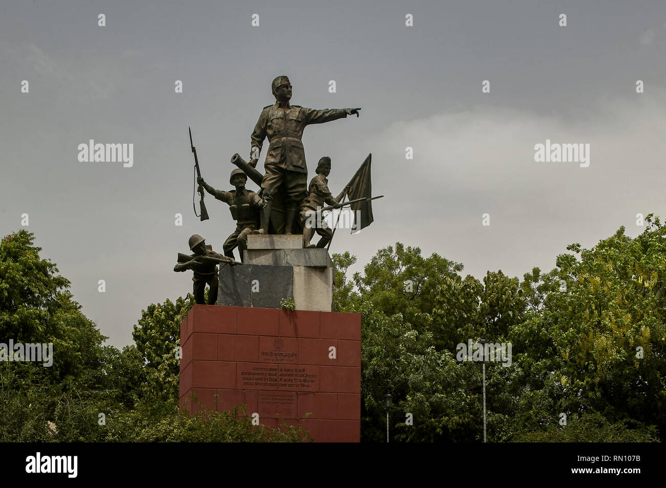 08 Jun 2004 The ensemble of Subhash Chandra Bose and INA soldiers was mounted in park Old Delhi INDIA - Stock Image