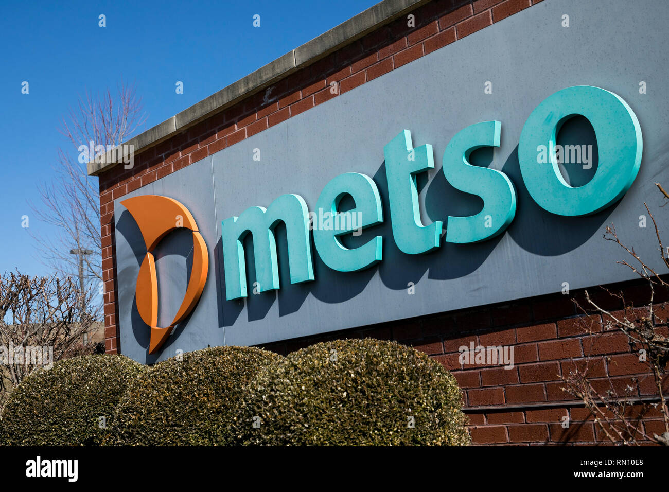 A logo sign outside of a facility occupied by Metso