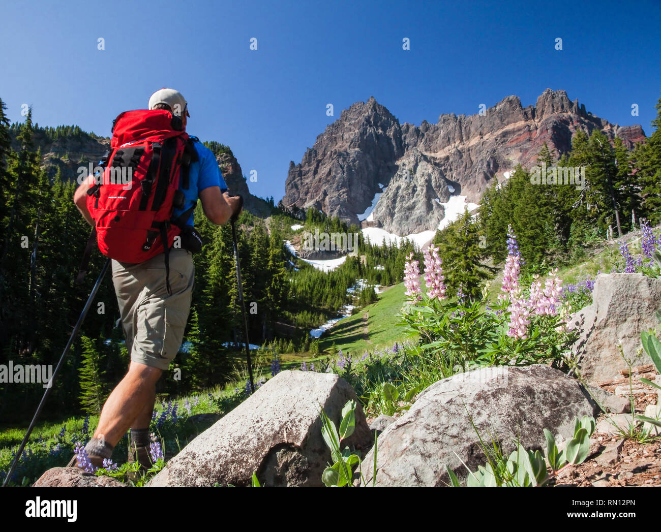 Backpacking into Three Fingered Jack Mountain near Sisters Oregon Stock Photo