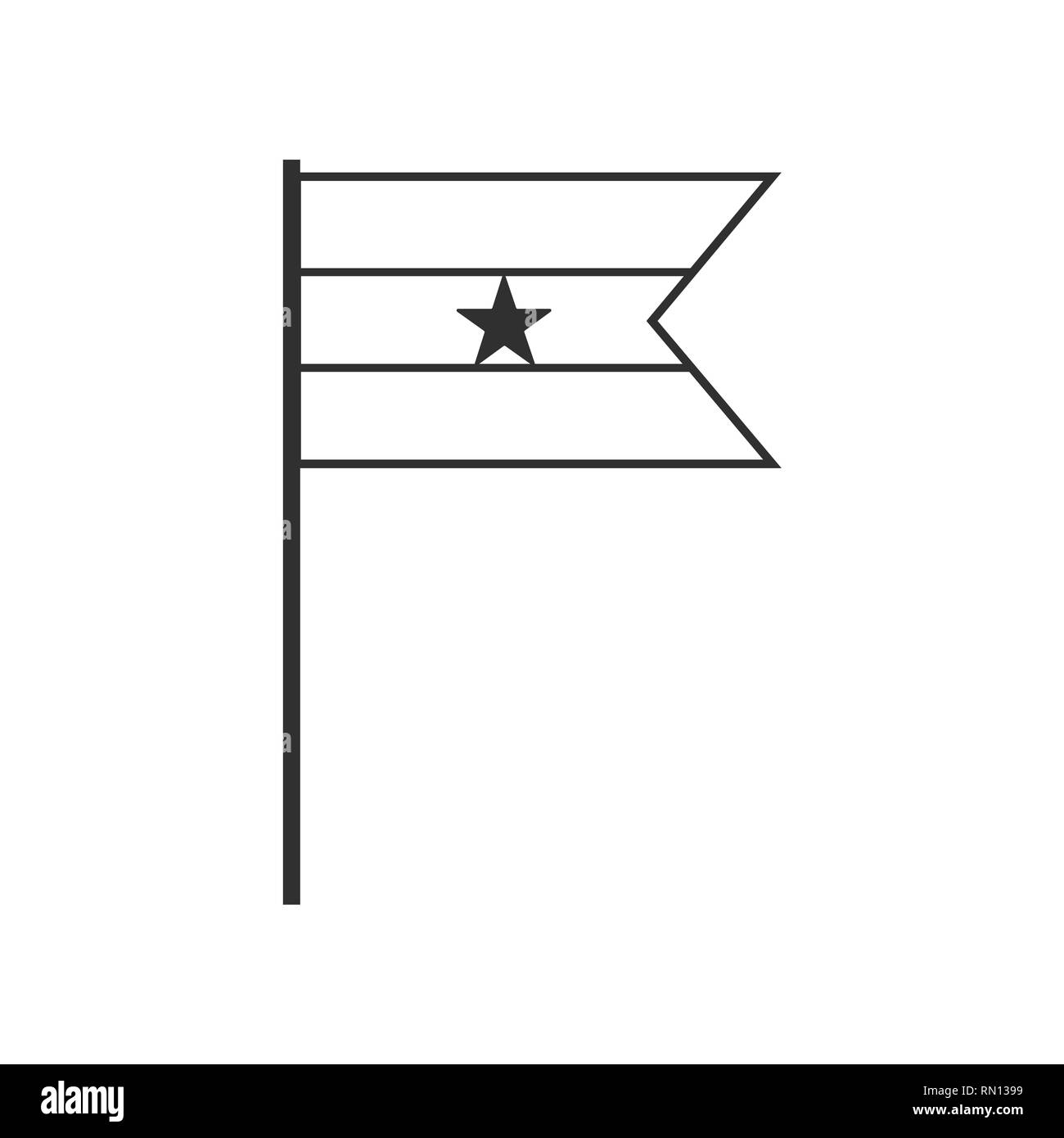 Ghana flag icon in black outline flat design. Independence day or National day holiday concept. - Stock Image