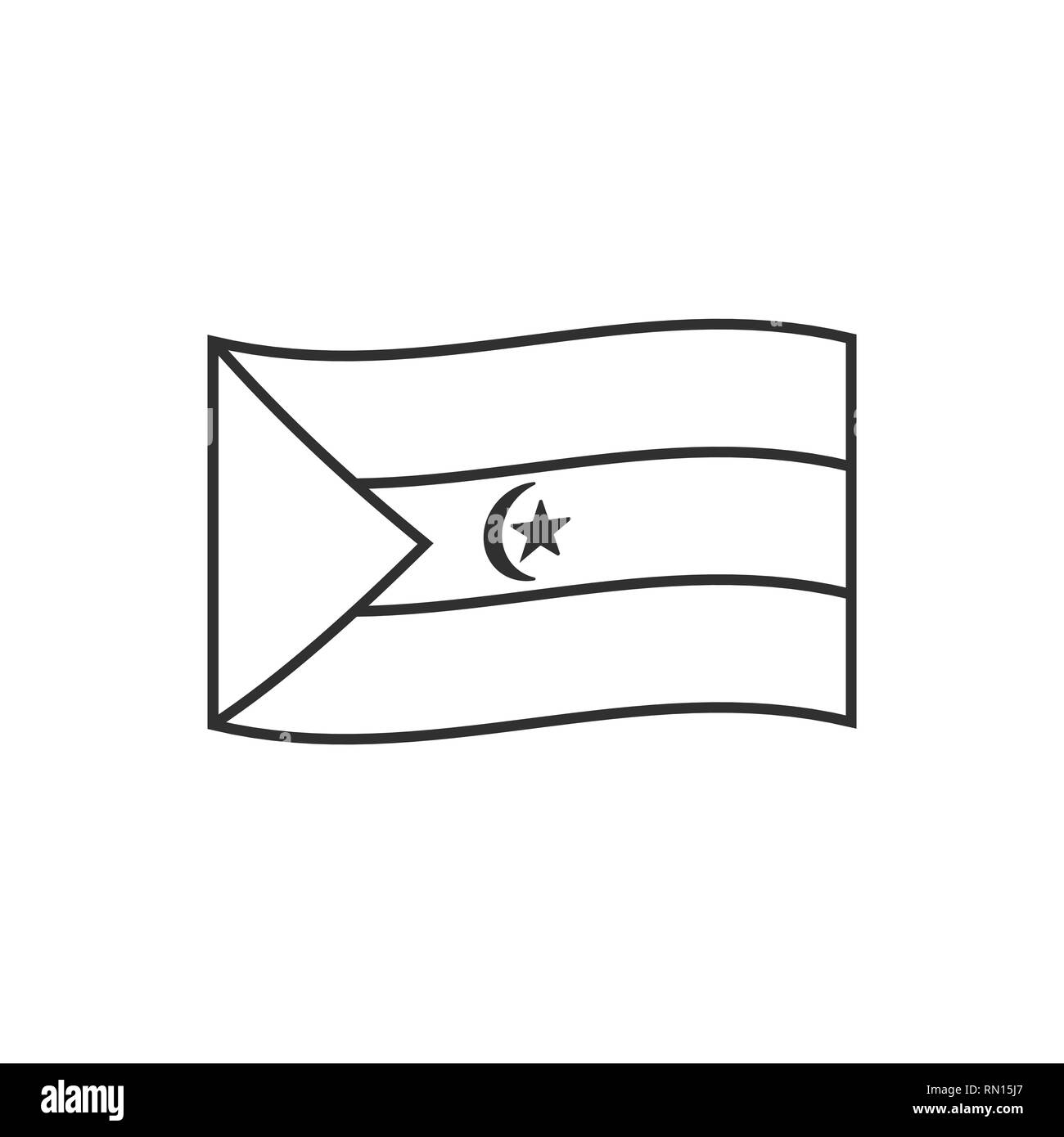 Western Sahara flag icon in black outline flat design. Independence day or National day holiday concept. - Stock Image