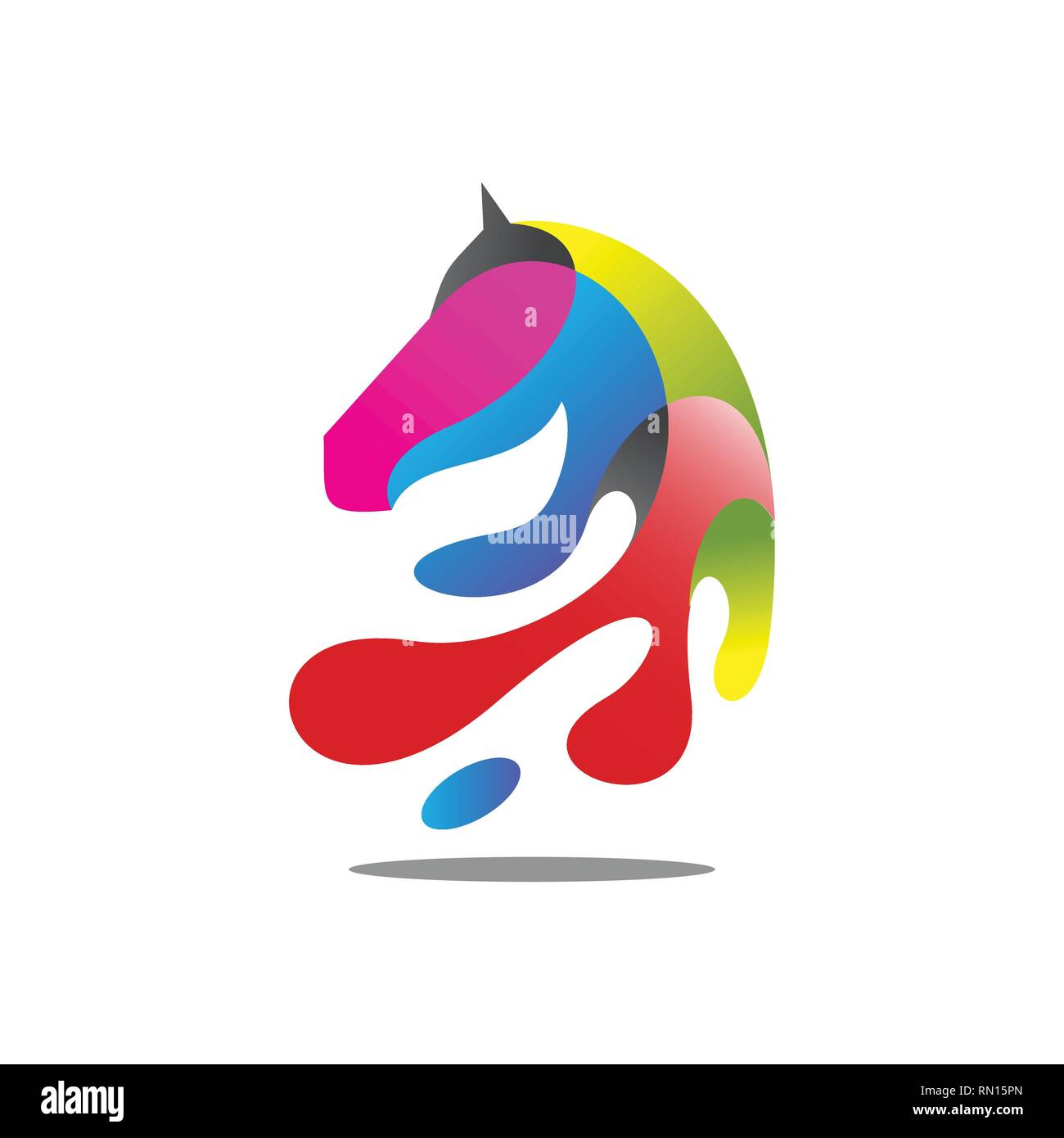 modern colorful horse head vector illustration. vector eps 10 - Stock Image