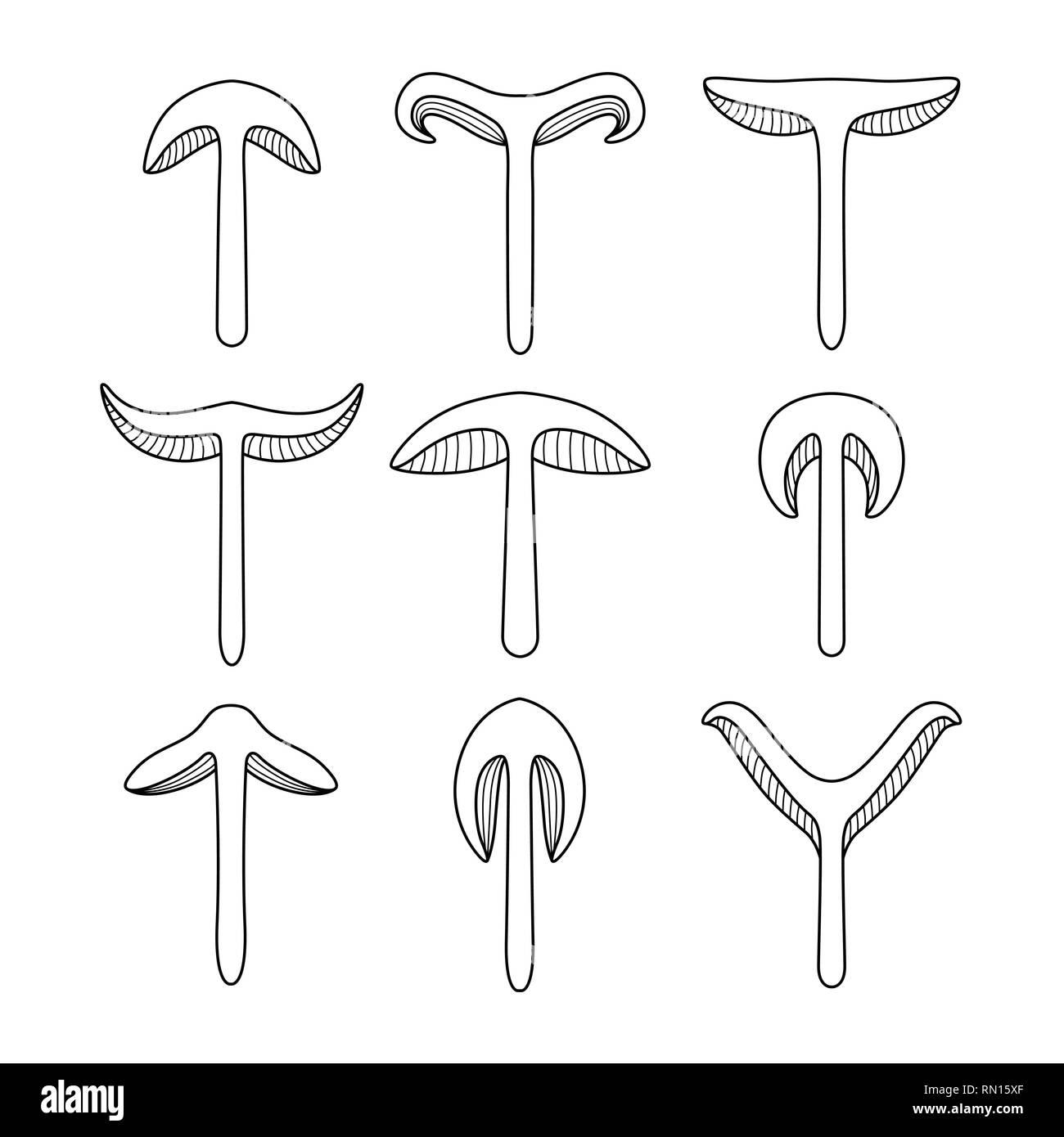 Mushroom Silhouettes Set. Black Line Drawing Vector. Sliced Toadstool - Stock Image