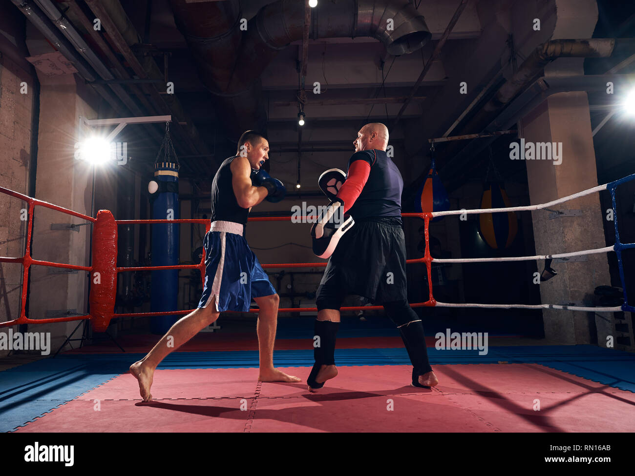 Young fighter practicing kickboxing with his trainer in the ring at the health club - Stock Image