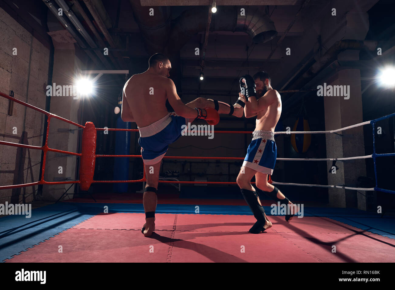 Two young male boxers training kickboxing in the ring at the health club - Stock Image