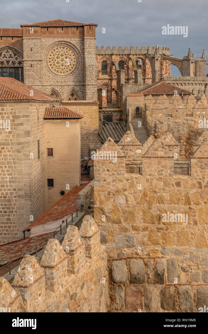 The Cathedral-fortress of Avila, Castile-Leon, Spain. Romanesque and Gothic styles. Its apse froms one of the turrets of the city walls. Stock Photo