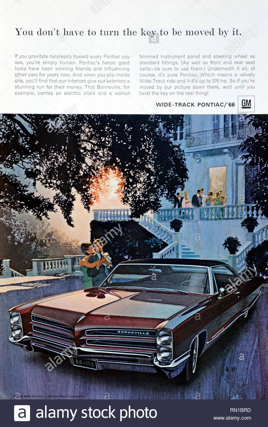 Vintage advertising for the  Pontiac Bonneville Wide track Car 1966 - Stock Image