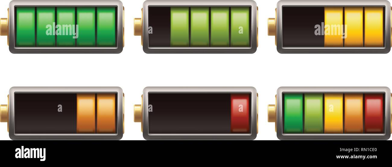 battery set isolated - Stock Vector