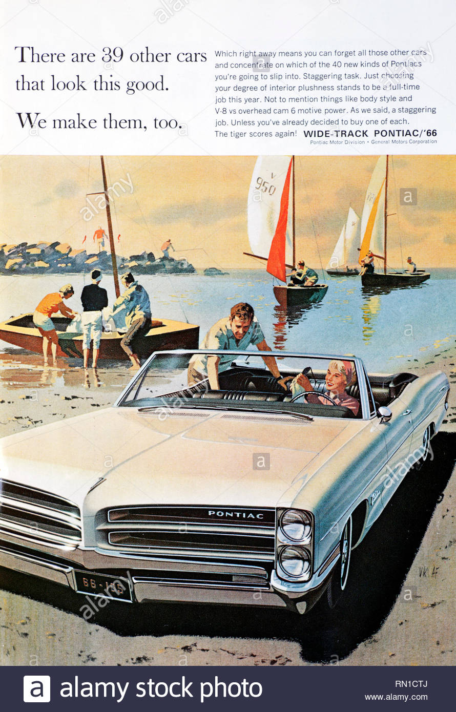 Vintage advertising for the Pontiac Wide track Car 1966 - Stock Image