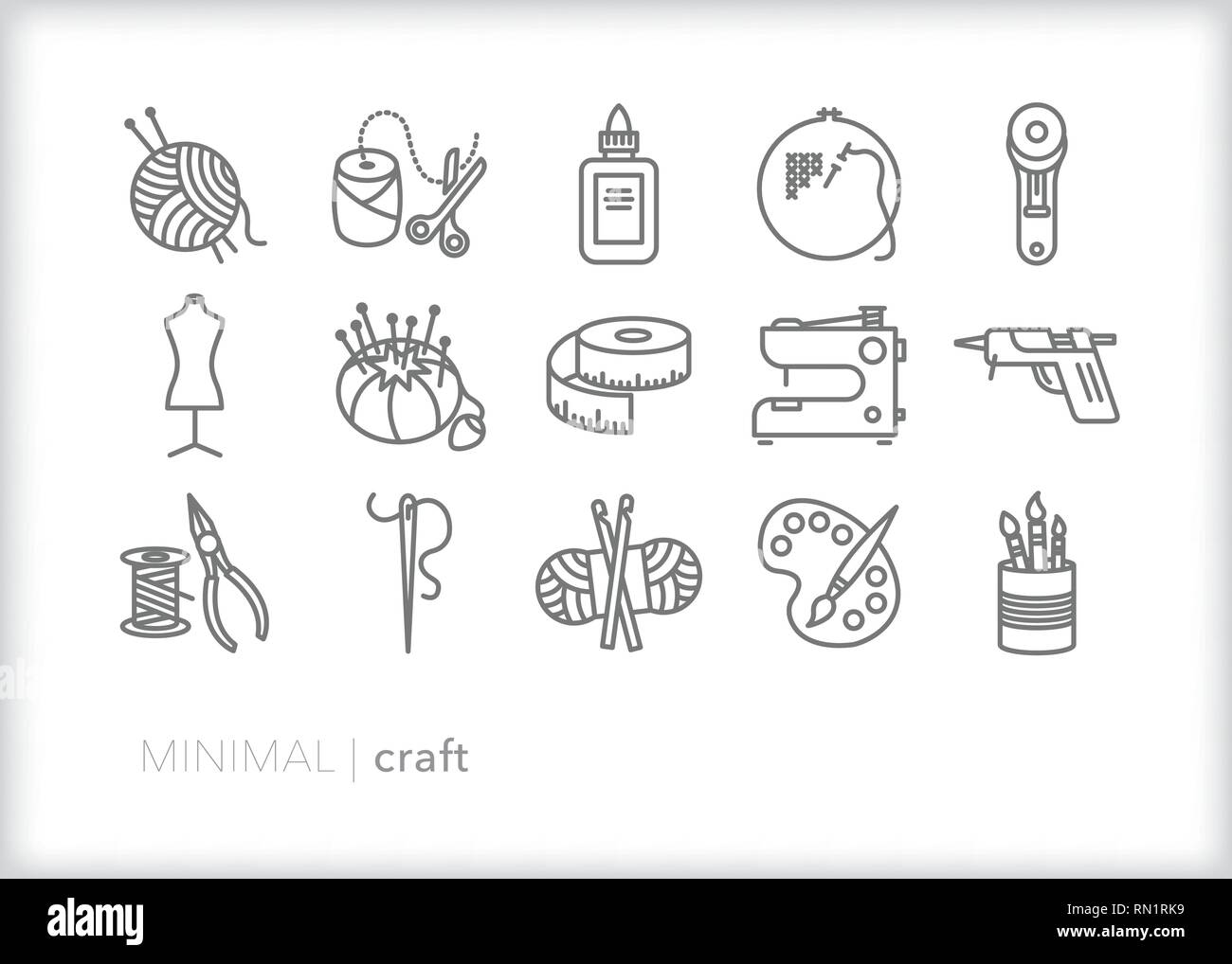 Set of 15 gray craft line icons of objects from craft hobbies such as crochet, knitting, painting, sewing and DIY projects - Stock Vector