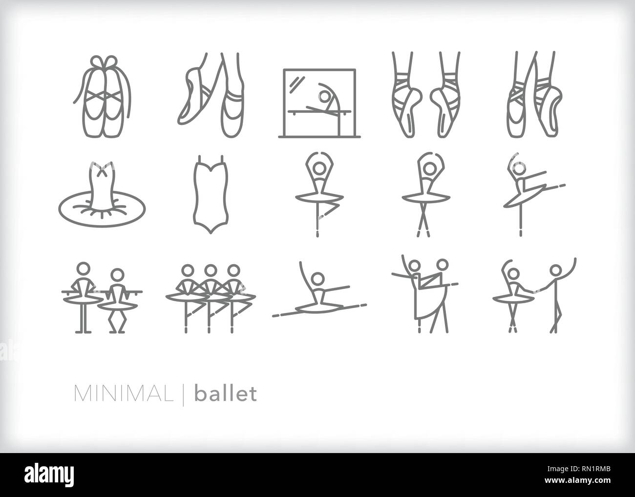 Set of 15 gray ballet icons of ballerina, dancer, tutu, ballet shoes, positions, practice and performance - Stock Vector
