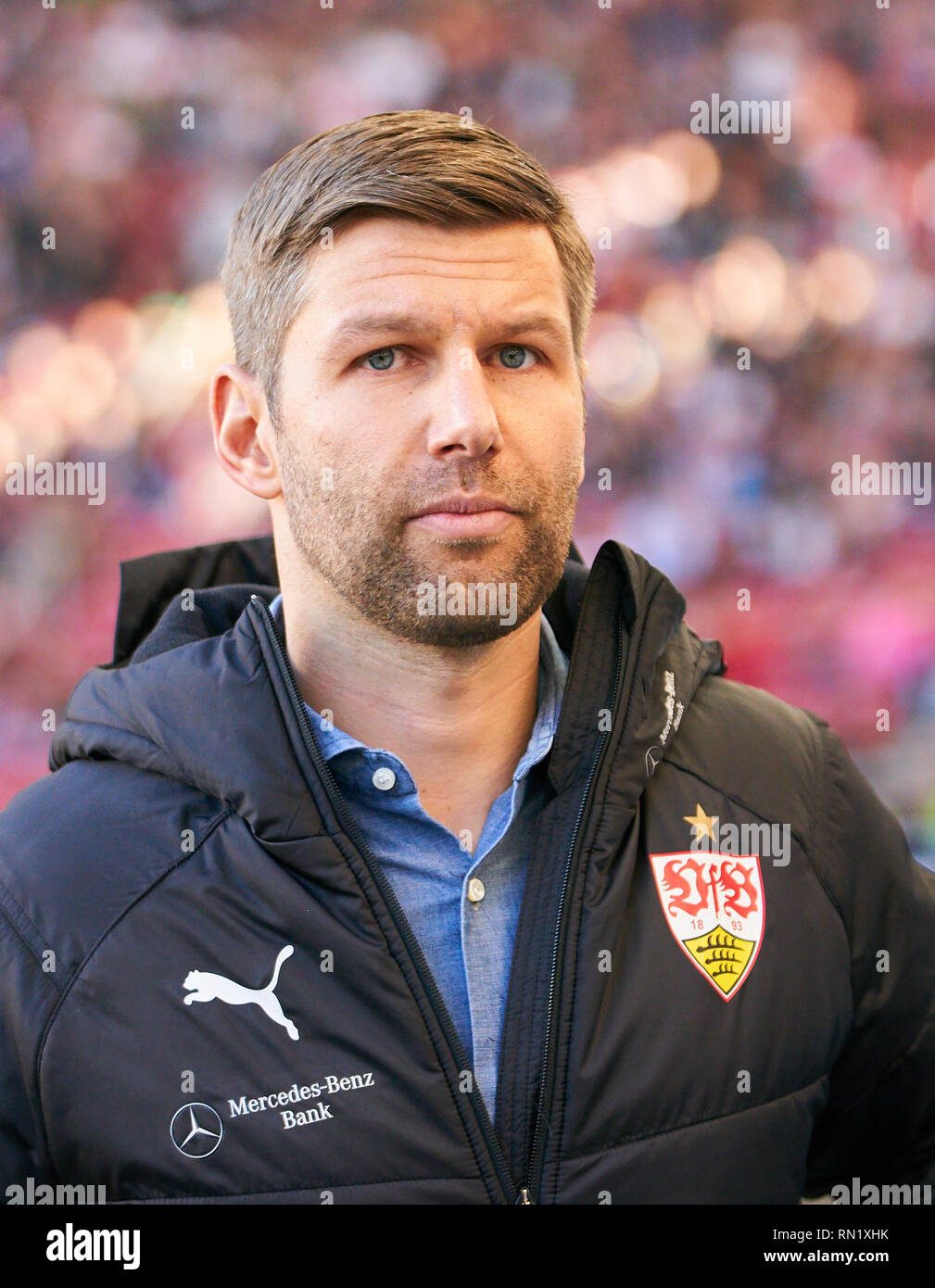 Thomas HITZLSPERGER, VFB Sportdirektor, Manager, sportlicher Leiter,  half-size, portrait,  VFB STUTTGART - RB LEIPZIG  - DFL REGULATIONS PROHIBIT ANY USE OF PHOTOGRAPHS as IMAGE SEQUENCES and/or QUASI-VIDEO -  DFL 1.German Soccer League , Stuttgart, February 16, 2018,  Season 2018/2019, matchday 23, shows red card to Bull,  © Peter Schatz / Alamy Live News Stock Photo
