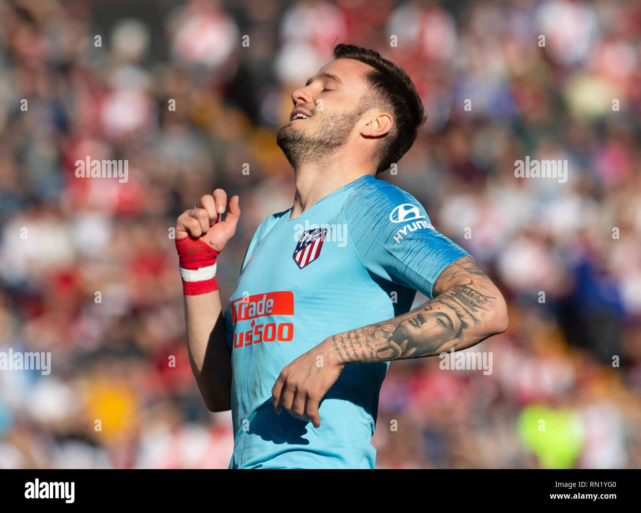 Saul Niguez of Atletico Madrid during the match between Rayo Vallecano vs Atletico Madrid of La Liga, date 24, 2018-2019 season. Stadium of Vallecas,  Madrid, Spain - 16  FEB 2019. - Stock Image