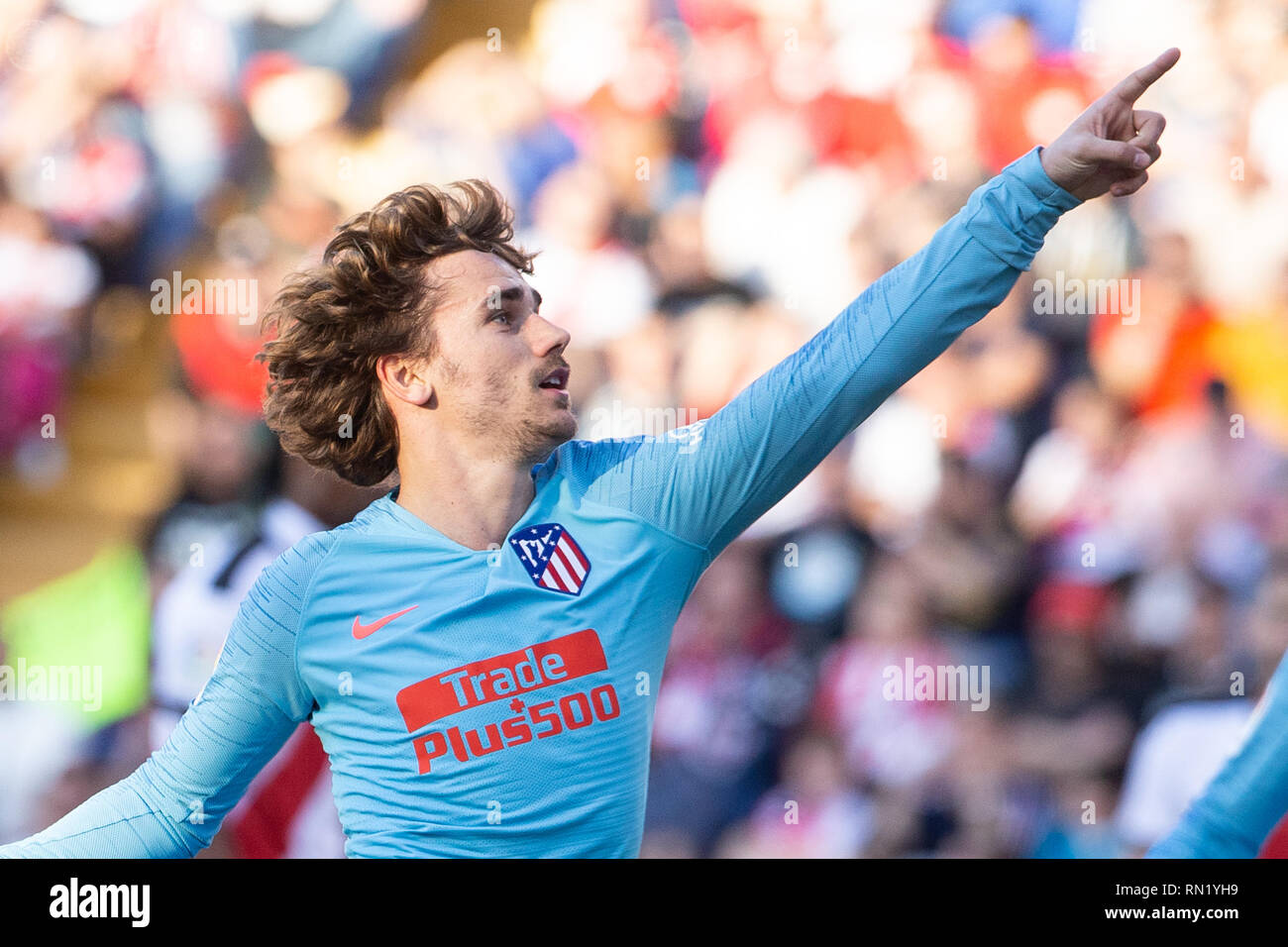 Antoine Griezmann of Atletico Madrid during the match between Rayo Vallecano vs Atletico Madrid of La Liga, date 24, 2018-2019 season. Stadium of Vallecas,  Madrid, Spain - 16  FEB 2019. - Stock Image