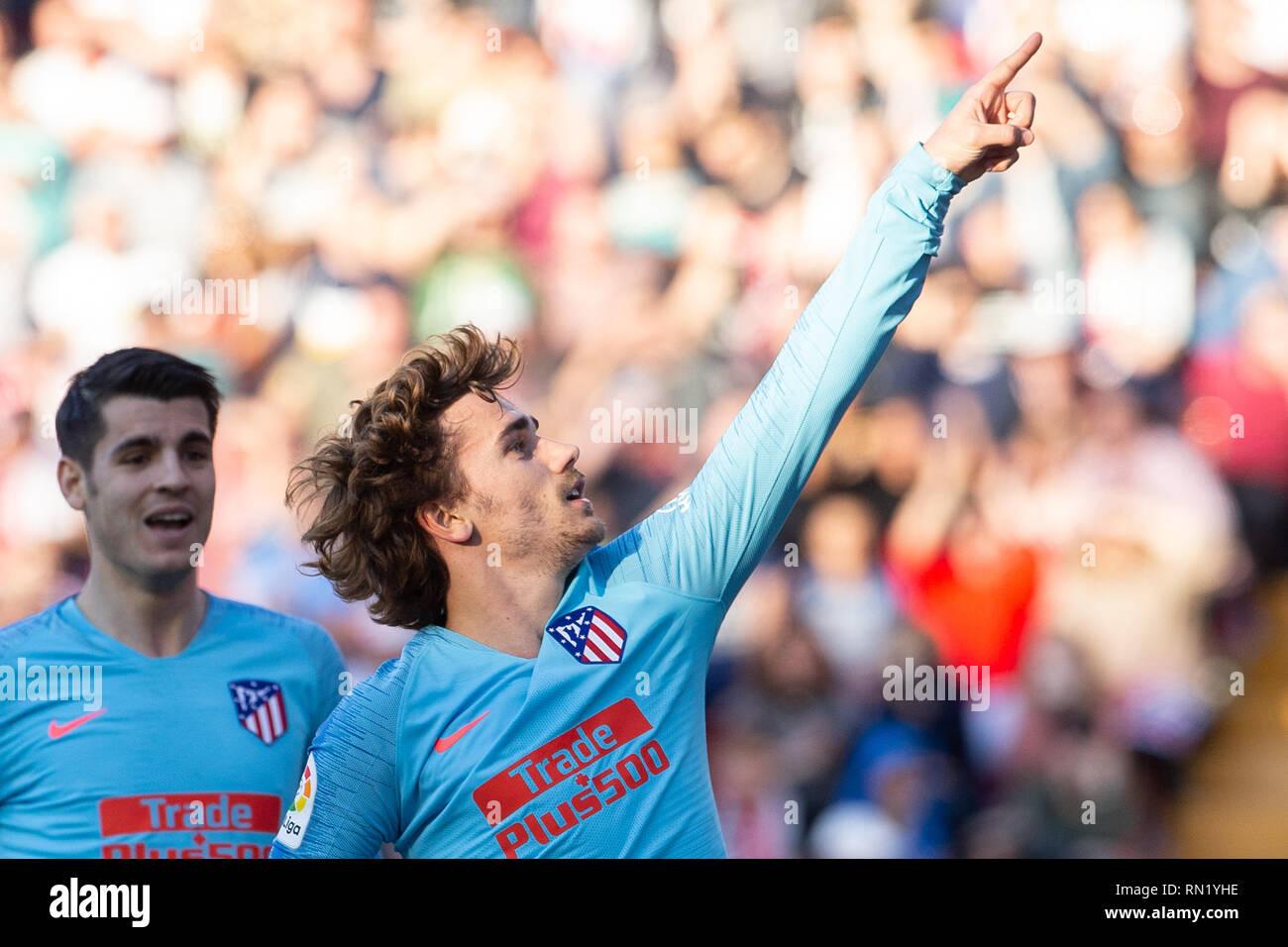 Antoine Griezmann of Atletico Madrid during the match between Rayo Vallecano vs Atletico Madrid of La Liga, date 24, 2018-2019 season. Stadium of Vallecas,  Madrid, Spain - 16  FEB 2019. - Stock Image