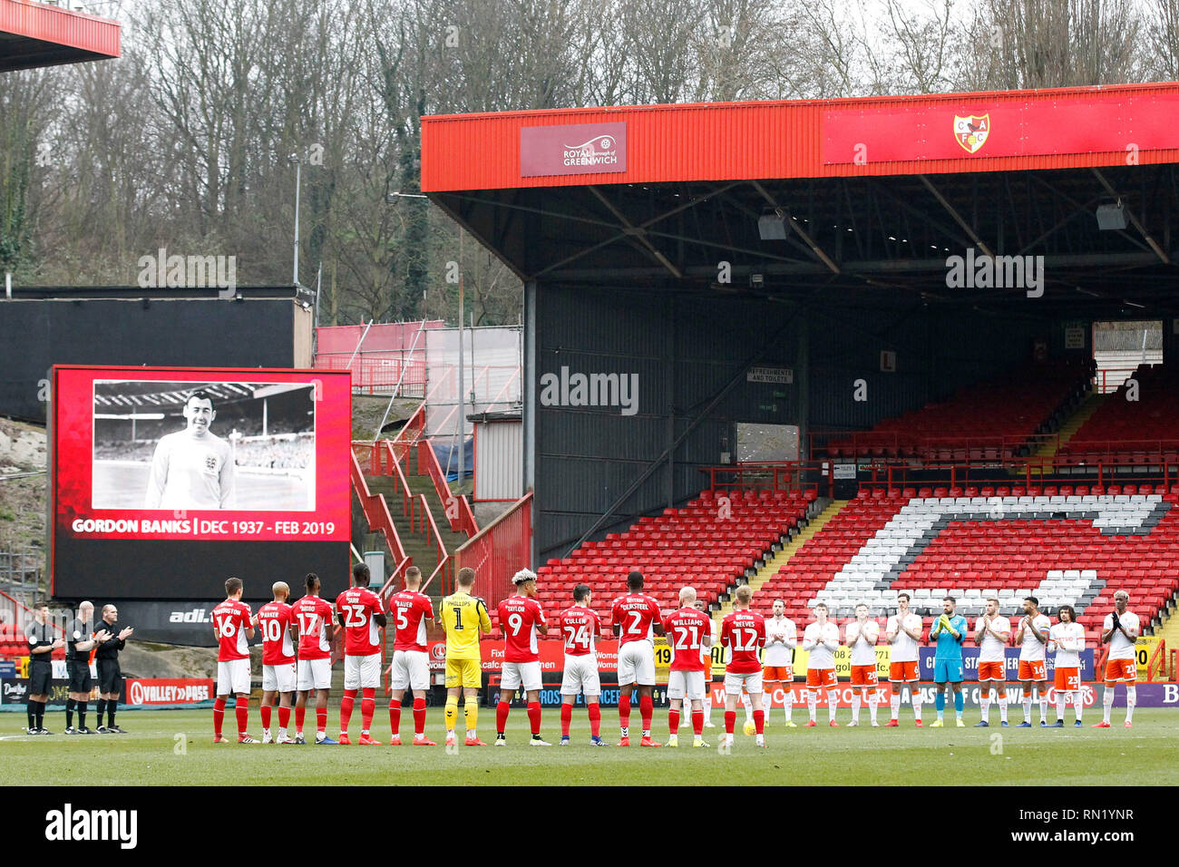 London, UK . 16th February 2019. A minutes' applause is observed for the late Gordon Banks who died this week during the EFL Sky Bet League 1 match between Charlton Athletic and Blackpool at The Valley, London, England on 16 February 2019. Photo by Carlton Myrie.  Editorial use only, license required for commercial use. No use in betting, games or a single club/league/player publications. - Stock Image