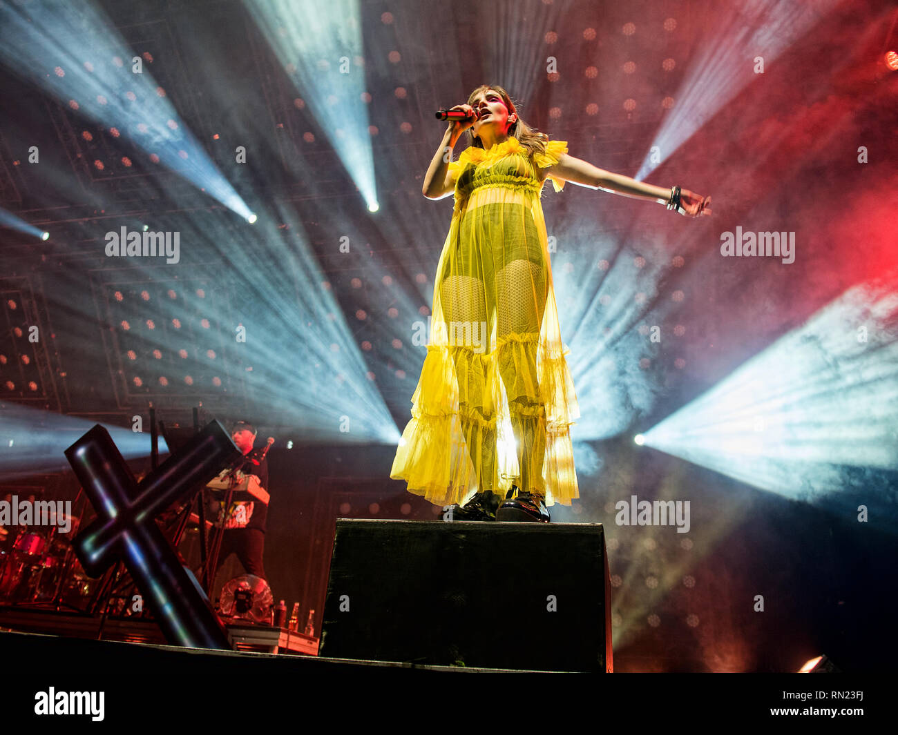 Glasgow, Scotland, UK. 16th February, 2019. Glasgow Synth Pop band Chvrches perform at the SSE Hydro. Credit: Stuart Westwood/Alamy Live News Stock Photo