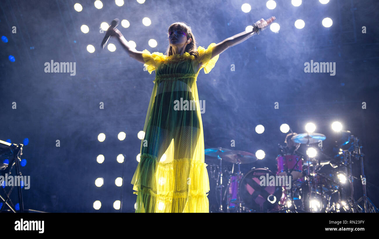 Glasgow, Scotland, UK. 16th February, 2019. Glasgow Synth Pop band Chvrches perform at the SSE Hydro. Credit: Stuart Westwood/Alamy Live News - Stock Image