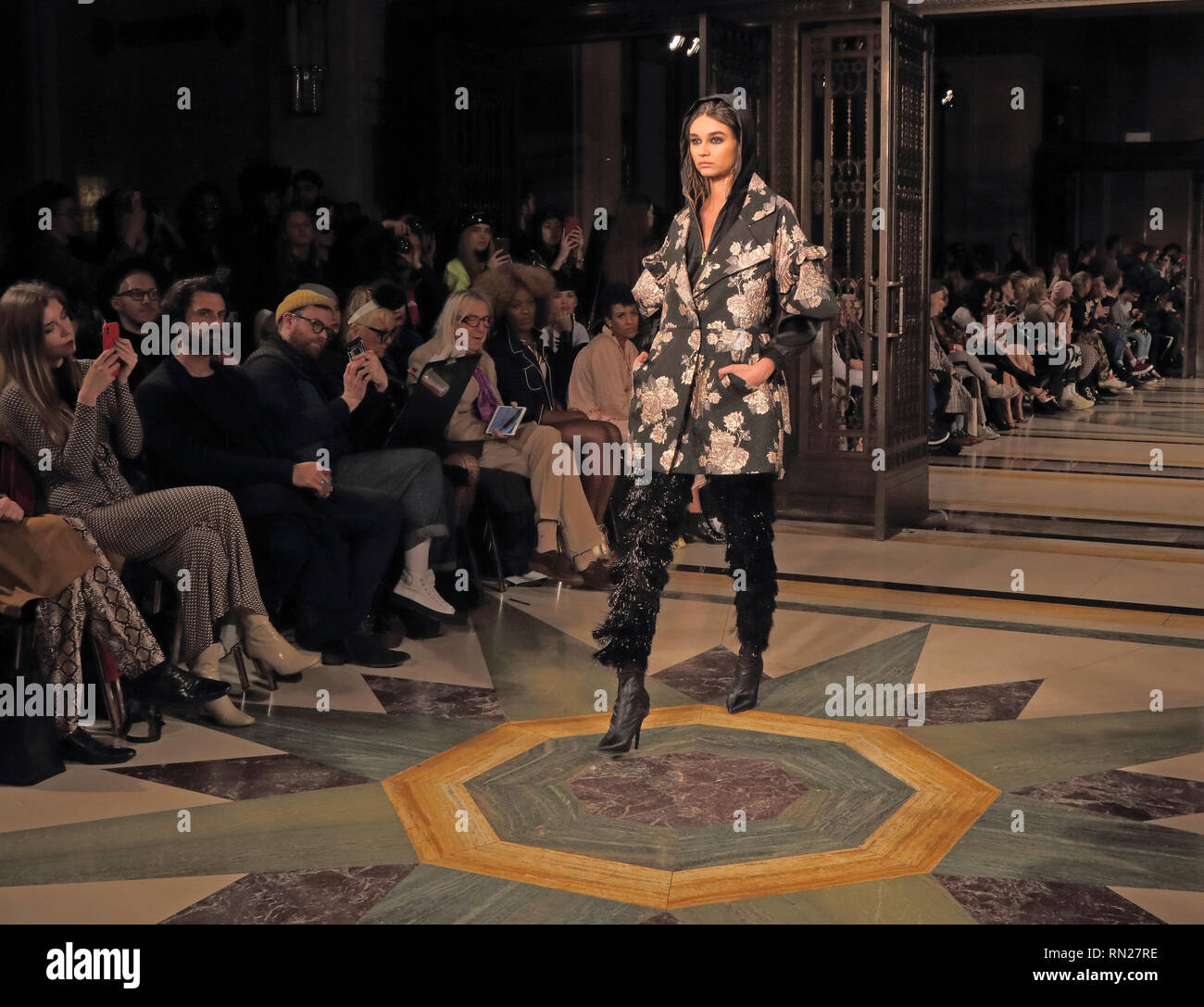 London Uk 16th Feb 2019 A Model Seen On The Rocky Star Catwalk Show Autumn Winter 2019 Indian Fashion Designer Presents His Latest Collection At Off Schedule London Fashion Week Show At The