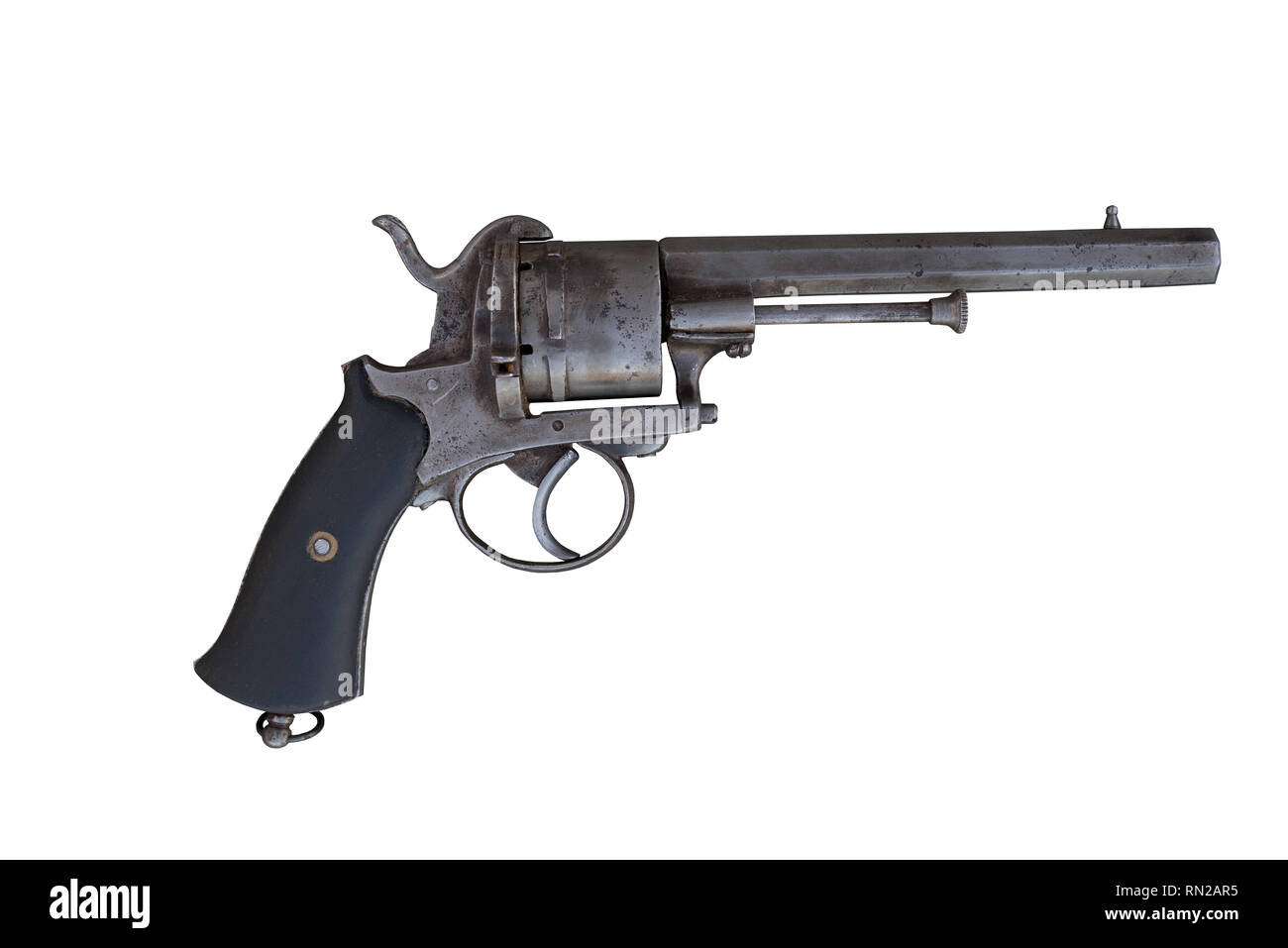 Old revolver. Ancient firearm. - Stock Image